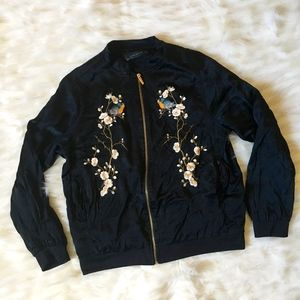 Zara Woman Embroidered Bomber Jacket